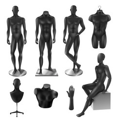 Mannequins men realistic black image set vector
