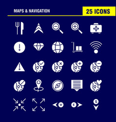 Maps and navigation solid glyph icon pack for vector