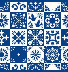 Mexican talavera seamless pattern ceramic tiles vector
