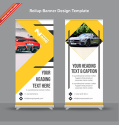 Modern rollup banner in yellow and grey vector