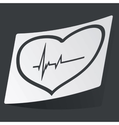 Monochrome cardiology sticker vector image