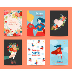 mothers day greeting card set happy mother day vector image