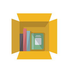 Office notebooks in cardboard box icon vector