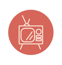 Old tv block style icon vector