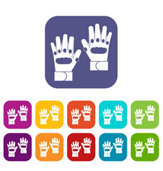 Pair of paintball gloves icons set vector