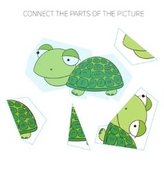 Puzzle game for chldren turtle vector image