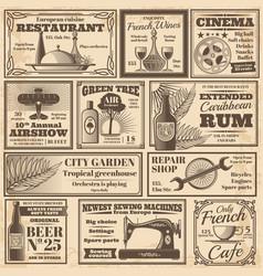 retro newspaper advertising banners design vector image