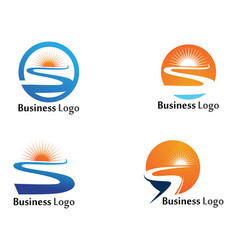 river and sun logo and symbols template vector image