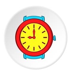 Round wrist watch icon cartoon style vector