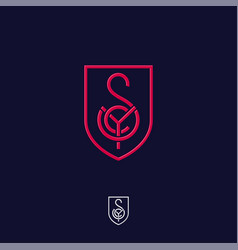 s y c monogram red lines shield vector image