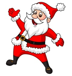 Santa clause cartoon waving hand vector image