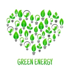 Saving energy icon with heart made of light bulbs vector image