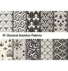 Seamless pattern background Set of 10 classical vector image