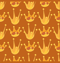seamless pattern with cartoon golden crown cute vector image