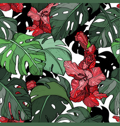 seamless pattern with tropical red flowers vector image