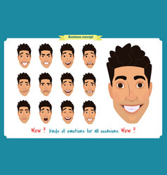 Set male facial emotions man emoji character vector