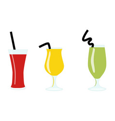 Set of exotic alcohol cocktails or juices isolated vector