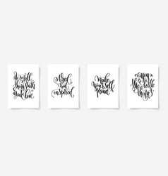 set of four positive quote posters vector image