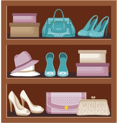 Shelf with bags and shoes vector