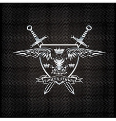 silver eagle with crown and swords crest on metal vector image