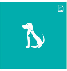 simple logo concept dog and cat for petshop and vector image