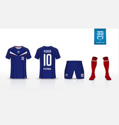 soccer jersey or football kit mockup template vector image