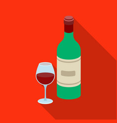 Spanish wine bottle with glass icon in flate style vector