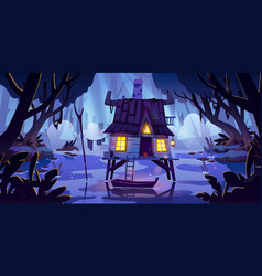 Stilt house in swamp with boat at night vector