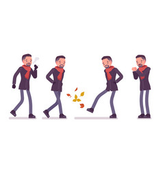 Stylish middle aged man in autumn wear smoking vector