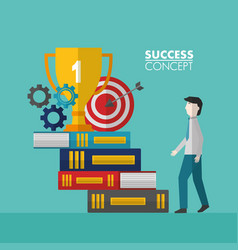 Success concept winner card vector