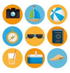 Summer holidays set icons vector
