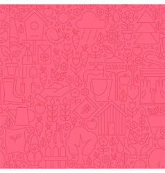 Thin Gardening Tools Line Seamless Pink Pattern vector