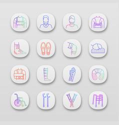 Trauma treatment app icons set vector