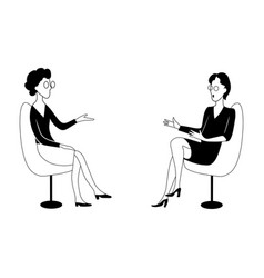 two women sit on chairs and talk black and white vector image