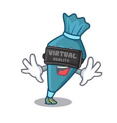 Virtual reality pastrybag mascot cartoon style vector