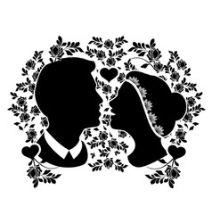 wedding silhouette with flourishes 2 vector image