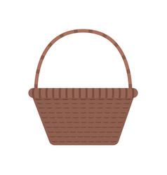 wicker basket icon in flat design vector image