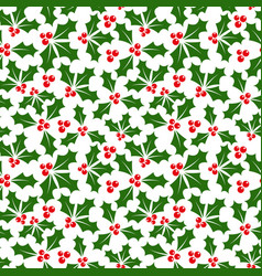 Winter background of holly seamless pattern vector