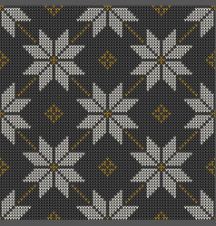winter pattern with nordic snowflakes vector image