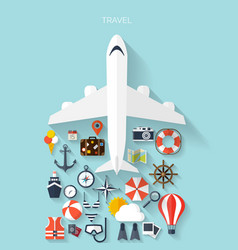world travel concept background plane flat vector image