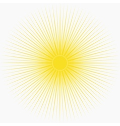 Yellow sun background with long thin rays vector image