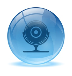Blue abstract 3d web cam icon vector
