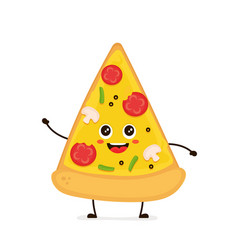 cute smiling funny cute pizza slice vector image vector image