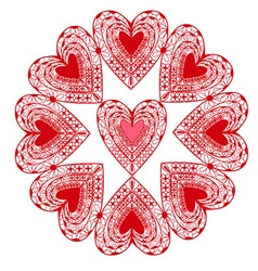 Flower graphic stylized red hearts isolated vector image