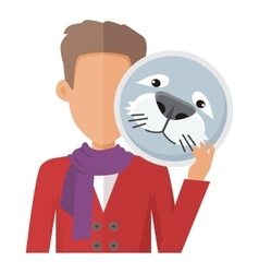 Man with Seal Mask Flat Design vector image vector image