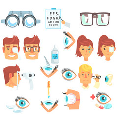 ophthalmology problem and medical treatment vector image vector image
