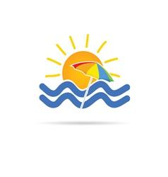 sun icon with umbrella and sea vector image vector image
