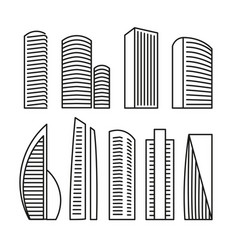 isolated black and white color skyscrapers in vector image