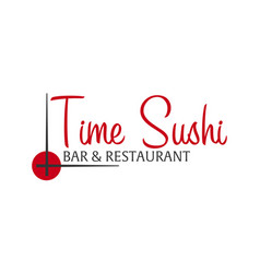 time sushi logo template design with chopstick vector image