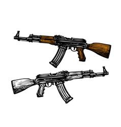 weaponry armament symbol automatic machine ak 47 vector image
